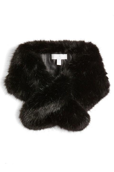 halogen faux fur black stole