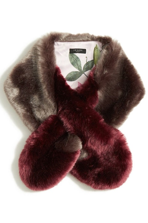 ted baker faux fur colorblock stole in brown and burgundy