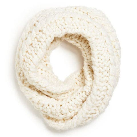 rebecca minkoff knit infinity scarf in ivory