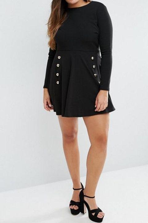 Club L Plus Skater Dress With Button Detail