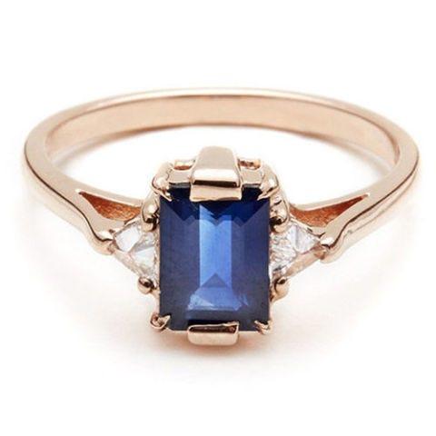 anna sheffield bea three stone sapphire rose gold ring