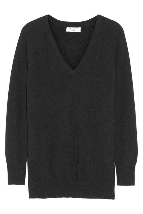 equipment asher oversized v-neck cashmere sweater in black