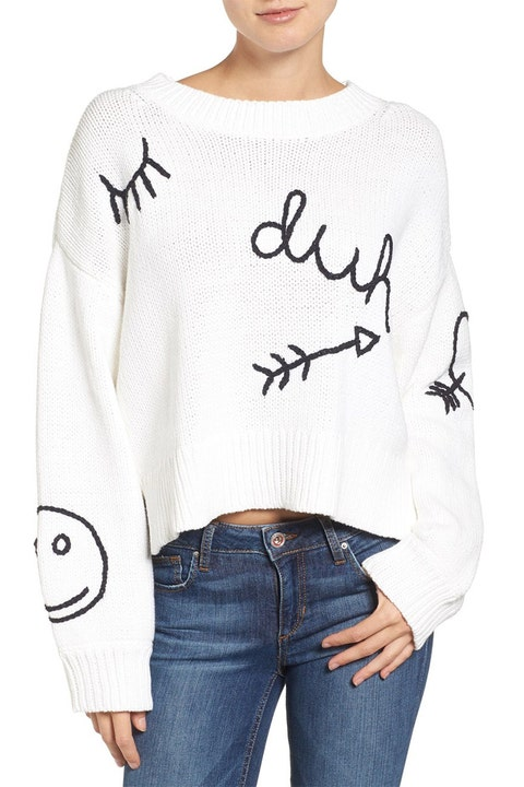 wildfox duh oversized cropped white sweater