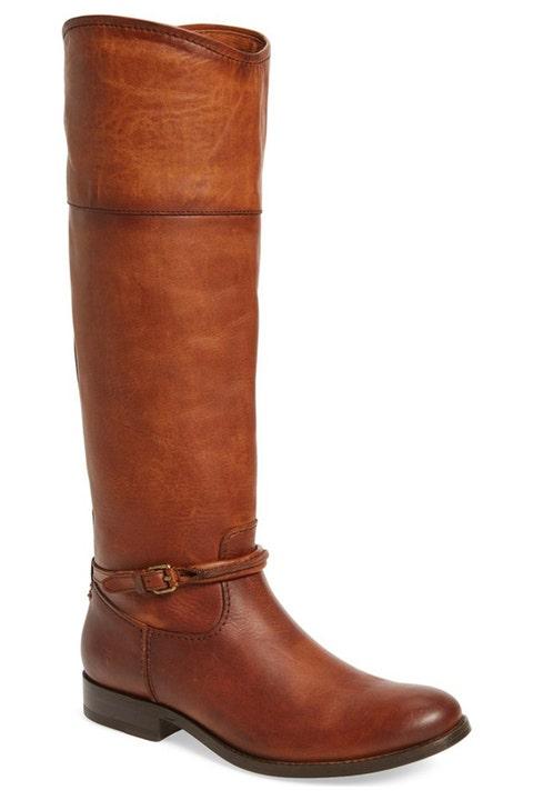 frye melissa seam riding boots in cognac