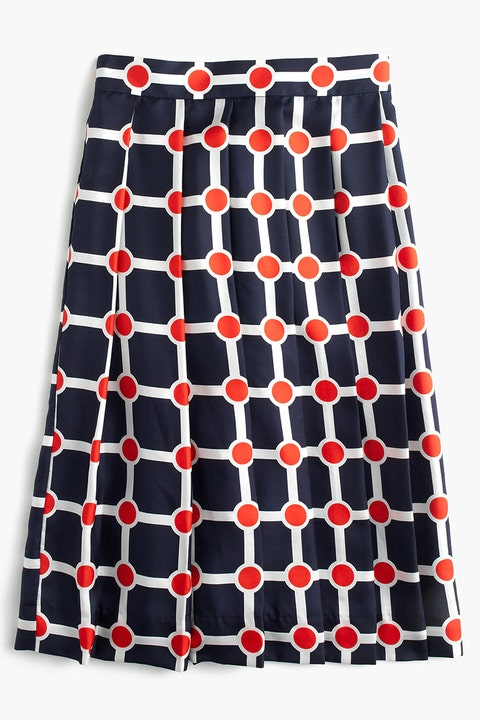 J. Crew Collection Ratti Geo-Print Pleated Silk Skirt