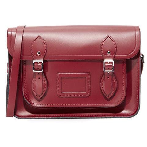 magnetic cambridge satchel bag in oxblood