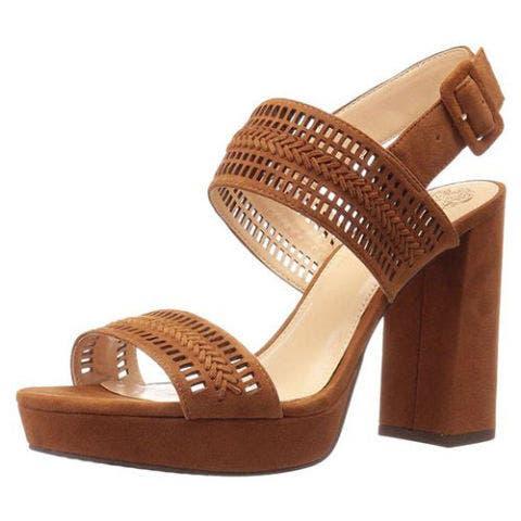 Vince Camuto Women's Jazelle Platform Dress Sandal in tan suede