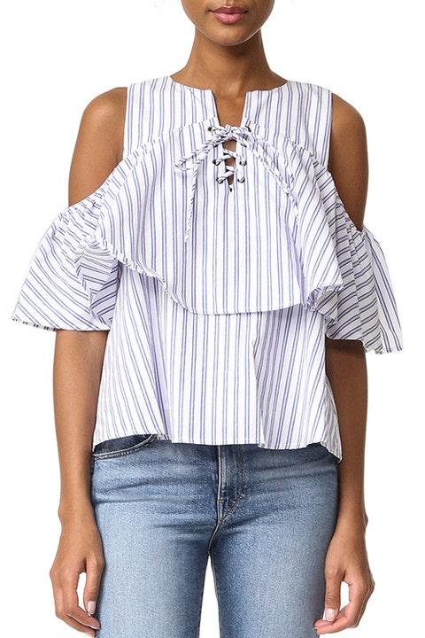 J.O.A. Lace-Up Stripe Blouse