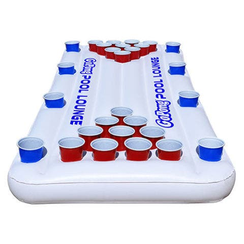 GoPong Pool Party Barge Floating Beer Pong Table with Cooler