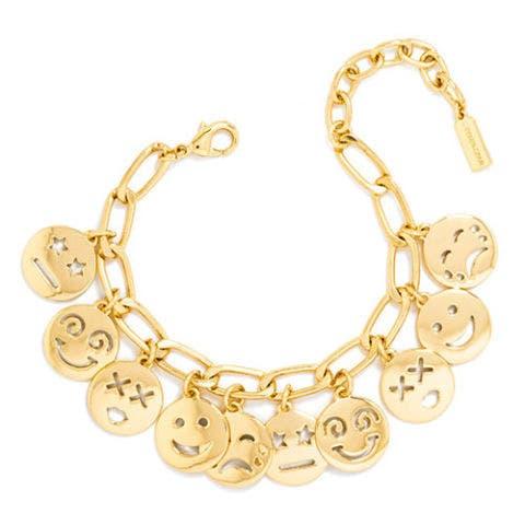 baublebar gold smiley charm bracelet
