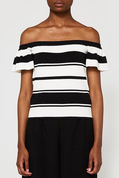 farrow off shoulder black stripe top