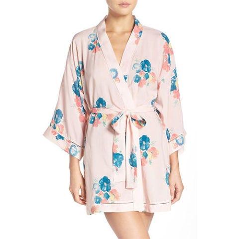 nordstrom lingerie pink floral robe