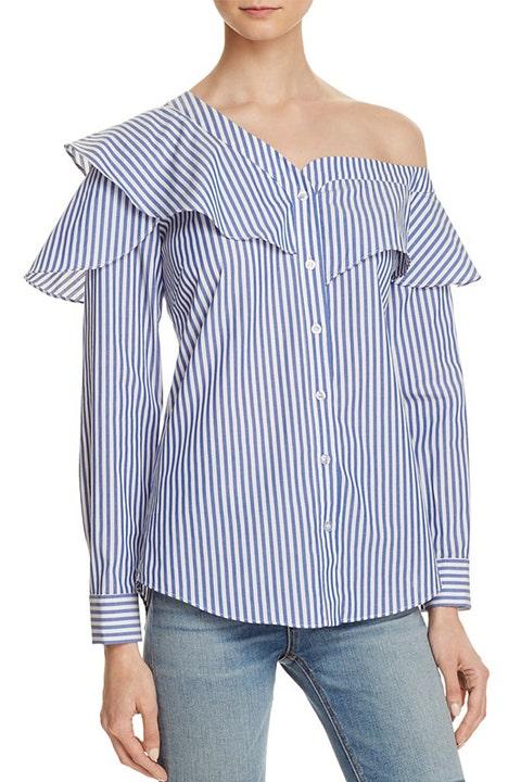 bardot Ruffle and Frill Shirt blue and white stripes