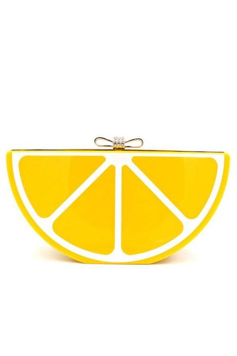 lemon slice clutch bag