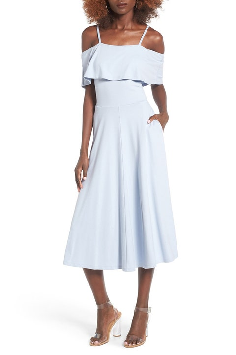 leith cold shoulder blue midi dress