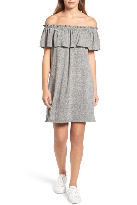 current elliott ruffle gray off the shoulder dress