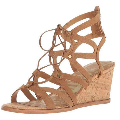 dolce vita lynnie lace up wedge sandals in tan