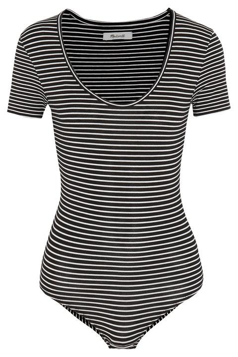 madewell black striped short sleeve bodysuit