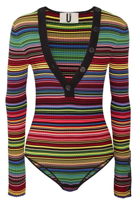 topshop unique striped rainbow bodysuit