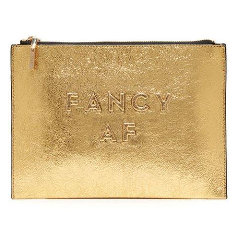 milly fancy af gold clutch bag