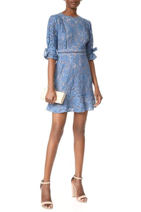 way blue lace mini dress