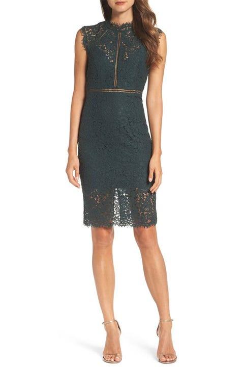 bardot green lace sheath dress