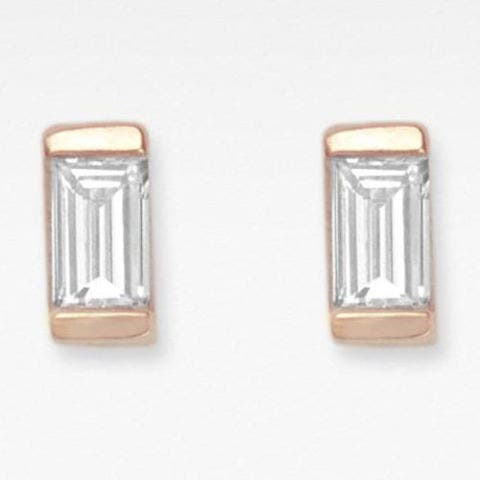 vrai and oro baguette diamond stud earrings