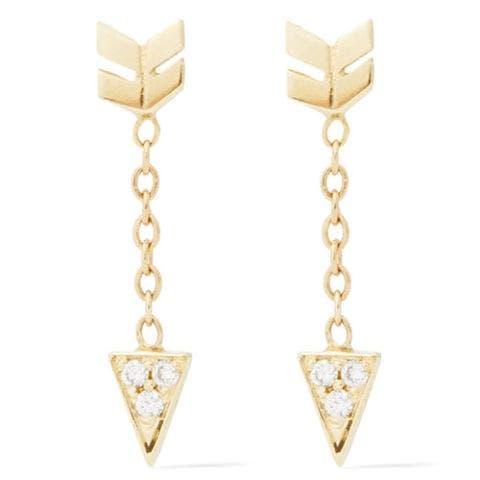 jennie kwon gold arrow diamond earrings