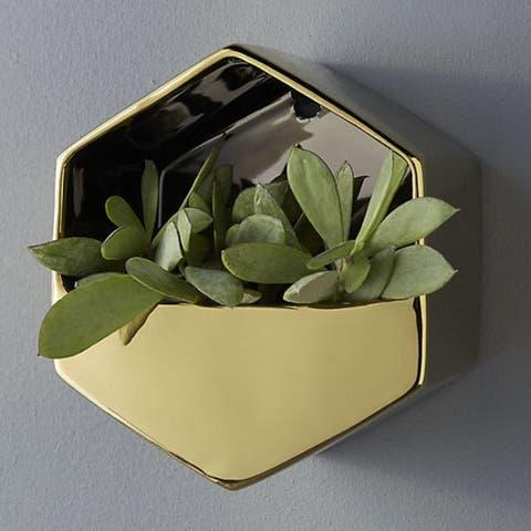CB2 Bolt Gold Wall Vase