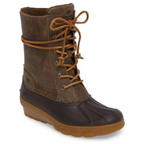 sperry saltwater reeve waterproof boots olive