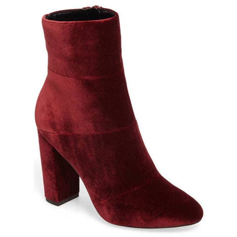 bcbg coral red velvet booties