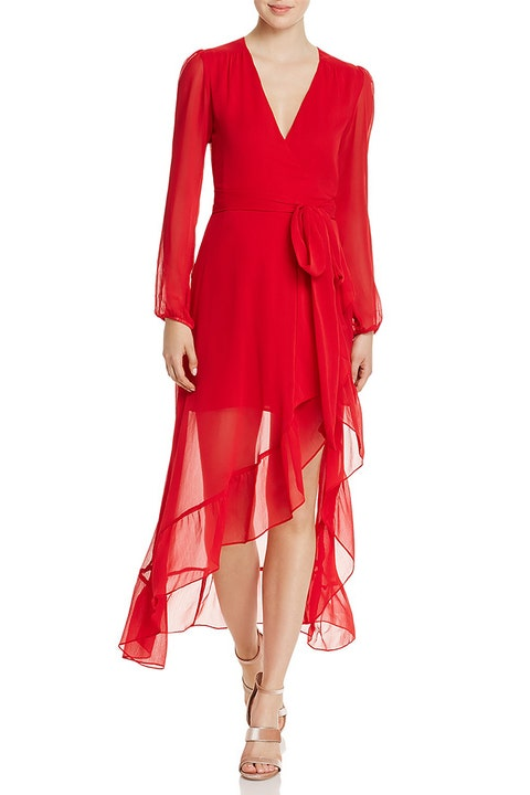 wayf only you red chiffon wrap dress