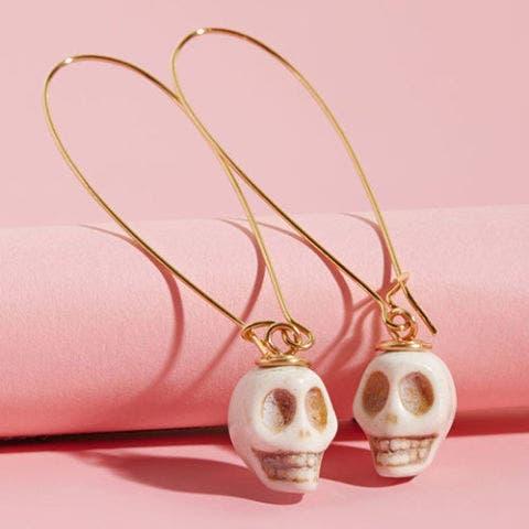 mod cloth skull drop earrings