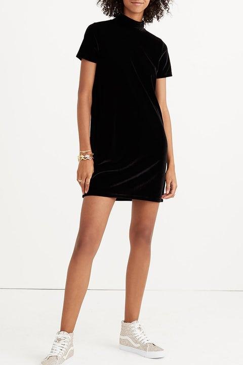 madewell black velvet short sleeve dress