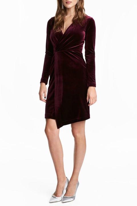 h&m velvet long sleeve dress burgundy