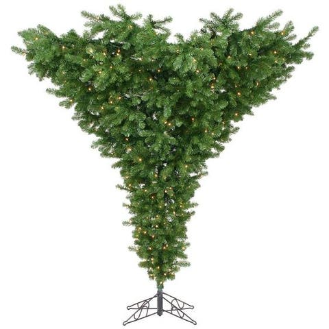 Vickerman Upside Down 7.5' Green Artificial Christmas Tree