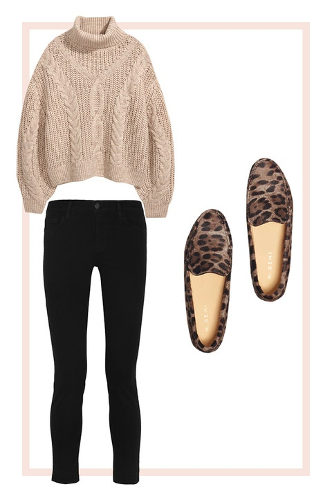 Neutral Sweater and Leopard-Print Shoes