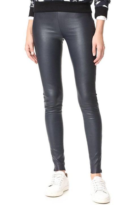 mackage navy leather leggings