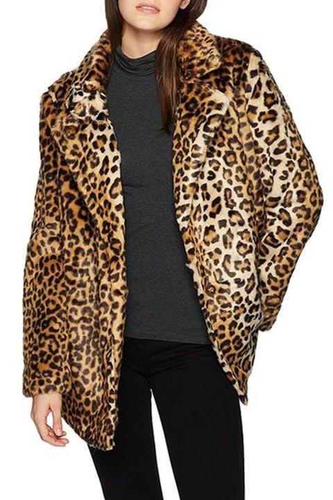 JOA leopard faux fur coat