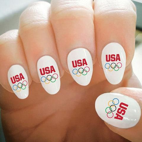 Olympic Rings USA Nail Tattoos