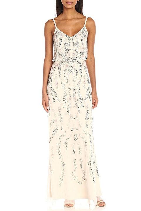 adrianna papell beaded white dress