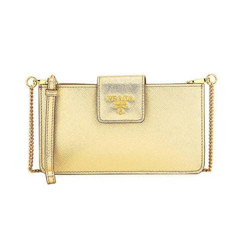 prada gold iPhone crossbody bag