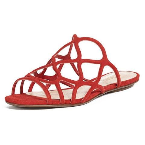 Schutz red slide sandals