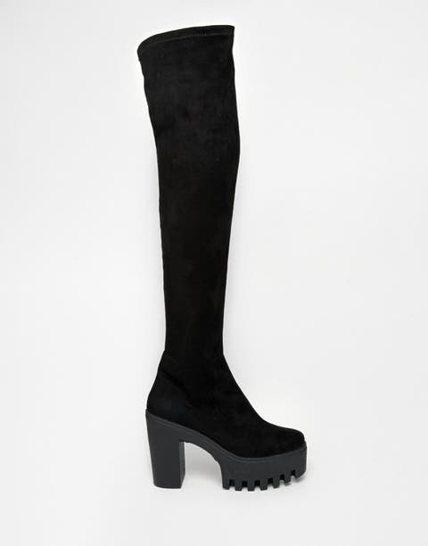 Boot, Costume accessory, Black, Grey, Knee-high boot, Foot, Leather, Synthetic rubber, Sock, Riding boot,
