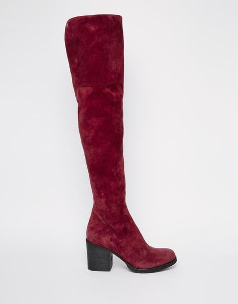 Brown, Boot, Red, Costume accessory, Carmine, Maroon, Liver, Knee-high boot, Leather, Riding boot,