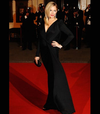 Sienna's black backless Dior dress harkened back to another era.