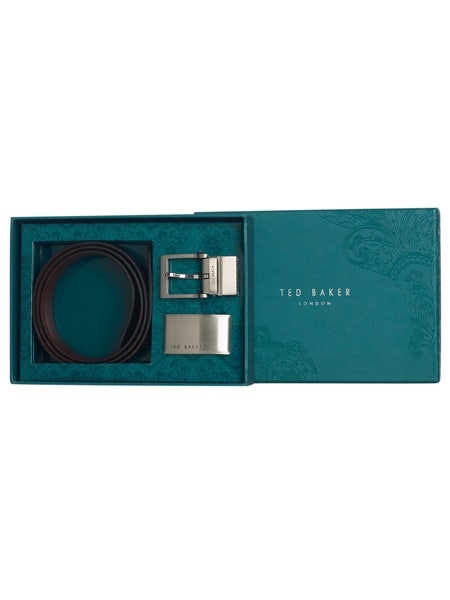"""See him belt up with this lush 100% leather beauty from <a target=""""_blank"""" href=""""http://www.houseoffraser.co.uk"""">www.houseoffraser.co.uk</a>. He can choose between twos sleek clasps to pair with the belt, so he can pick a buckle to match his mood. Practical and style-conscious - sounds like the perfect pressie to us.  <br />"""