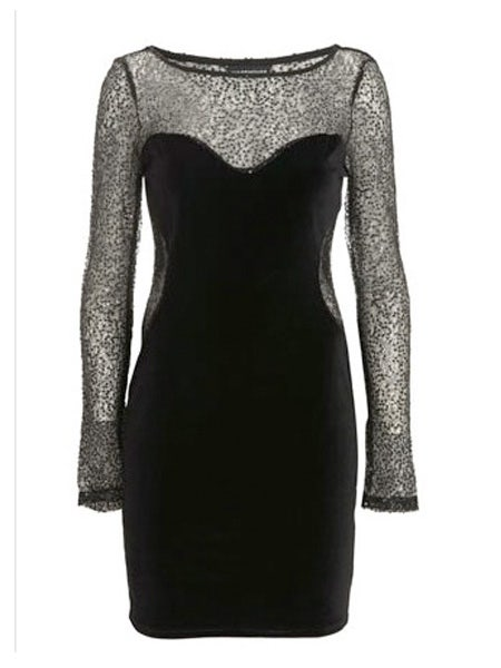 "Velvet and lace combined makes this dress bang on trend to be a gothic princess<br /><br />£55, <a target=""_blank"" href=""http://www.warehouse.co.uk/fcp/product/fashion/Gloss/-cut-out-sequin-and-lace-dress/13241"">www.warehouse.co.uk</a><br /><br />"