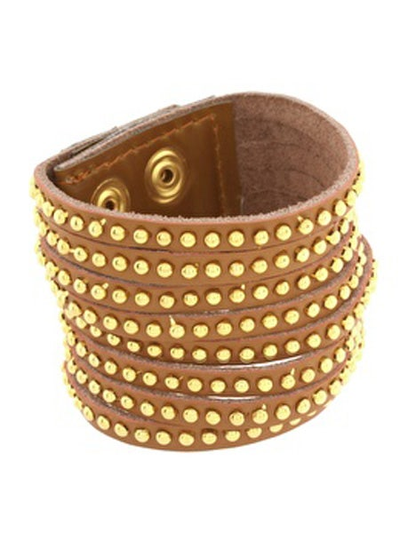"""<p>You can never have enough arm candy and this studded Asos bangle is a bargain</p>  <p>£10, <a href=""""http://www.asos.com/Asos/Asos-Genuine-Leather-Thick-Studded-Cuff-With-Popper-Fastening/Prod/pgeproduct.aspx?iid=1019001&cid=4175&sh=0&pge=0&pgesize=200&sort=-1&clr=Brown"""">www.asos.com</a><br /></p>"""