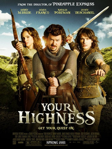 <p><b>Your Highness (Danny McBride, Natalie Portman, James Franco, Zooey Deschanel)</b></p><p>Star of little-seen-but-awesome docu-comedy The Foot Fist Way, Danny McBride shone in cameos in Pineapple Express and Due Date. So I was very excited to see he was hitting the big time with a leading role at last in this period romp. And with an Oscar winner, a sexpot and the coolest kid on the block also on board, what could possibly go wrong? Unfortunately, quite a lot. Although this has some funny moments, it pretty much has one joke – they're in olden times! And they're swearing! With a story involving two very different brothers joining forces to rescue a damsel in distress, it aims itself squarely at the teenaged-boy market, making it a bit unsatisfying for your average Cosmo girl. We suggest renting The Foot Fist Way instead</p><p><b>Rosie Mullender</b></p>